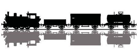 The black silhouette of a steam train Foto de archivo - 131424309