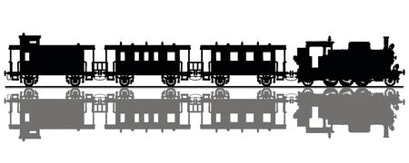 The black silhouette of a passenger steam train Foto de archivo - 131424310