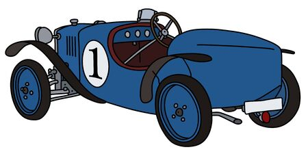The vintage blue racecar