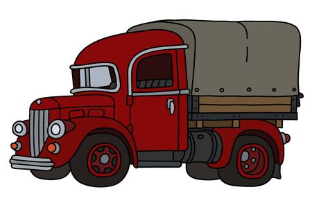 The vintage red delivery truck