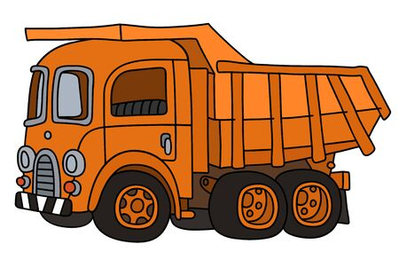 The vectorized hand drawing of a classic orange dumper truck
