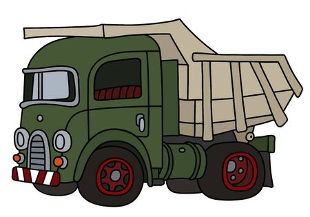 The vectorized hand drawing of a retro green dumper truck Foto de archivo - 132304695