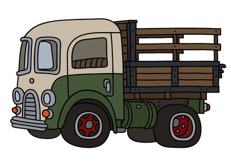The vectorized hand drawing of a funny old green and cream lorry truck