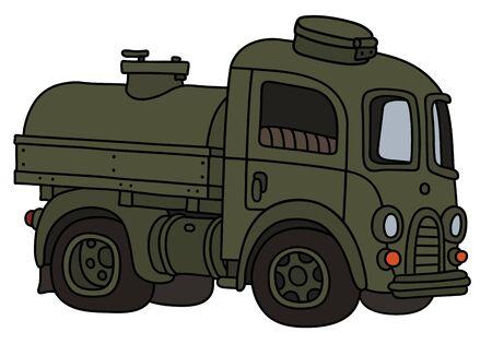 The funy old khaki military tank truck Ilustração