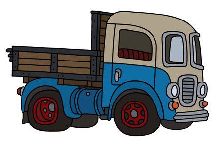 The funny old blue and cream lorry truck Ilustração