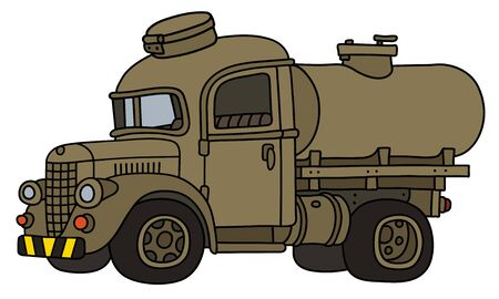 The funy old sand military tank truck