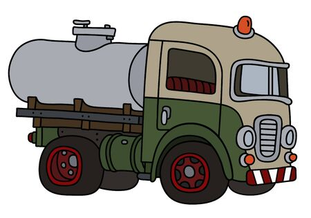 The funny old green and cream tank truck