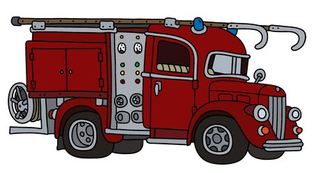 The funny classic red fire truck Foto de archivo - 133305953