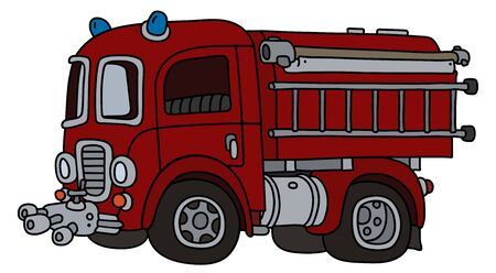 The funny old red fire truck