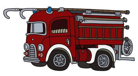 The funny old red and white fire truck Foto de archivo - 133305337