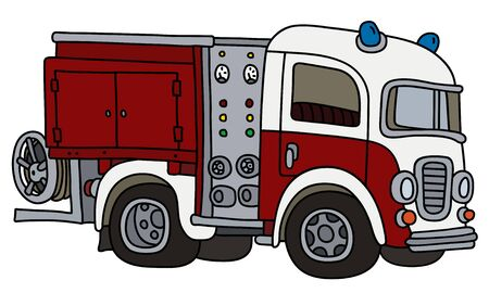 The funny old red and white fire truck