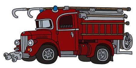 The funny retro fire truck Ilustração
