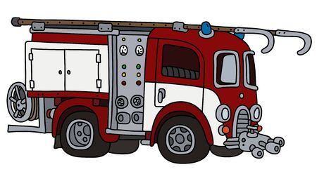 The funny classic red and white fire truck