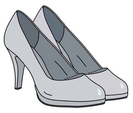 The white womans shoes on high heels