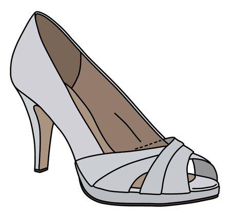 The white womans shoe on high heel Ilustração