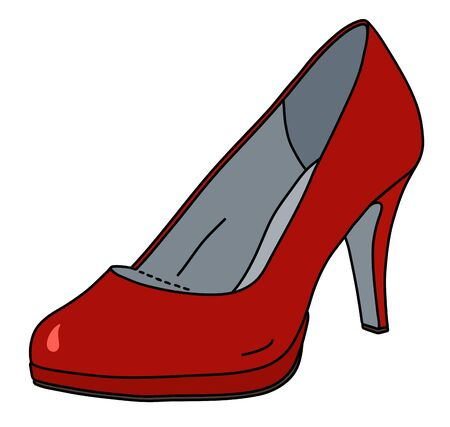 The red womans shoe on a high heel