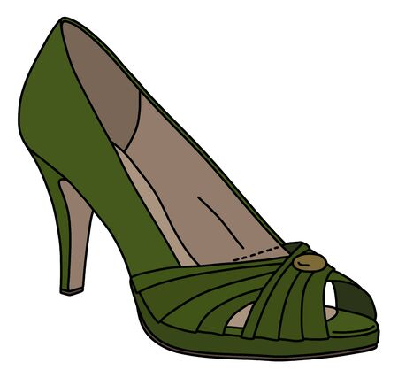 The green womans shoe on high heel