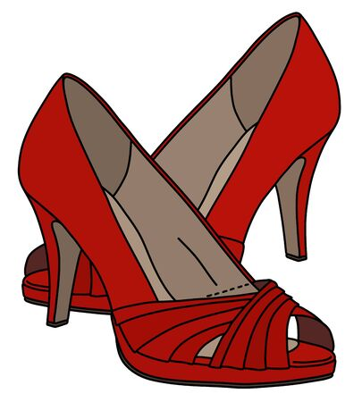 The red womans shoes on high heels