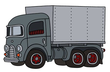 The funny old gray delivery truck