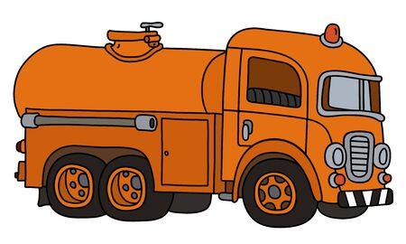 The funny retro orange tank truck