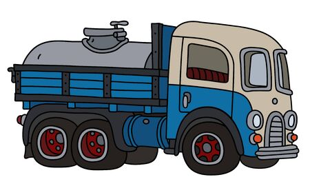 The funny classic blue and white dairy tank truck
