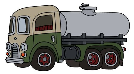 The funny classic green and white tank truck