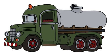 The funny classic green tank truck