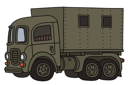 The funny classic khaki military truck