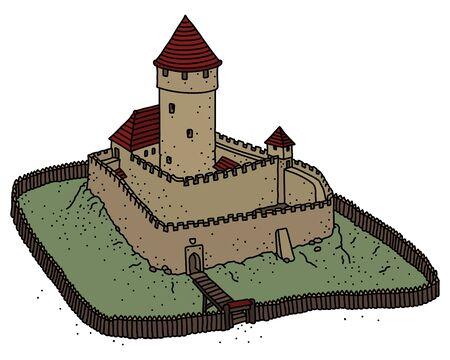 The old Gothic stone castle Ilustração
