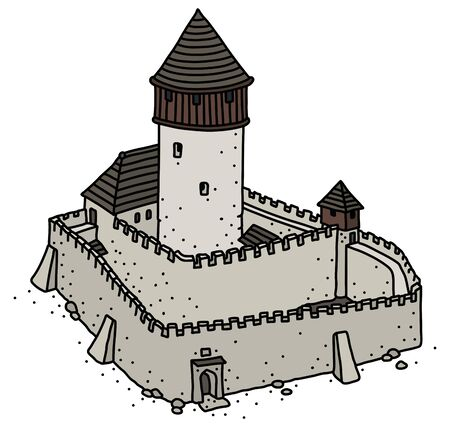 The vectorized hand drawing of an old gothic stone castle