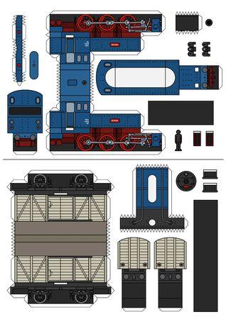 El modelo en papel de un antiguo tren de carga a vapor