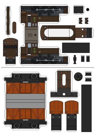 The paper model of a classic steam freight train
