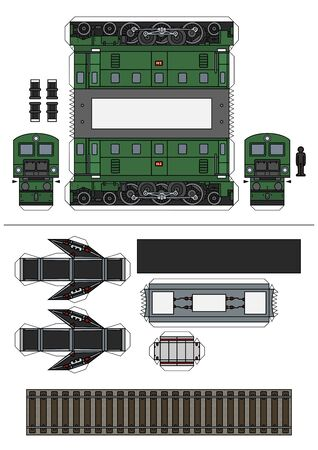 The paper model of vintage green electric locomotive