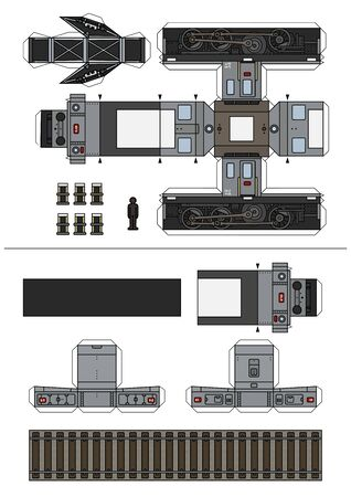 The paper model of a vintage gray small electric locomotive Vector Illustration