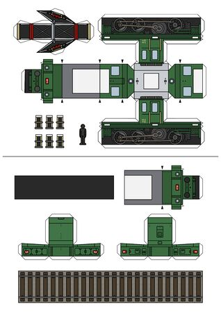 The paper model of a vintage green small electric locomotive Vector Illustration