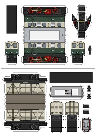 Paper model of vintage green electric locomotive and cream freight wagon