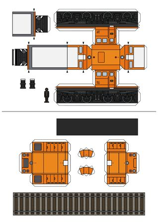 The paper model of a retro small diesel locomotive