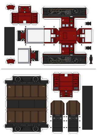 The paper model of a vintage dark red small diesel locomotive and a brown freight wagon