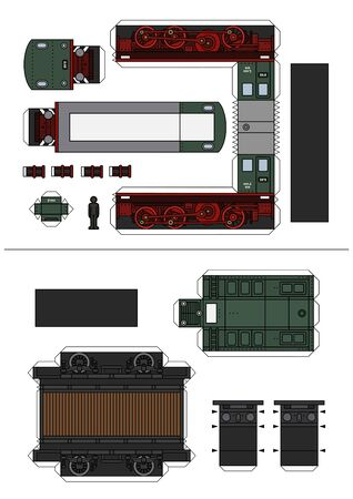 The paper model of a historic green diesel locomotive and a brown freight flat wagon