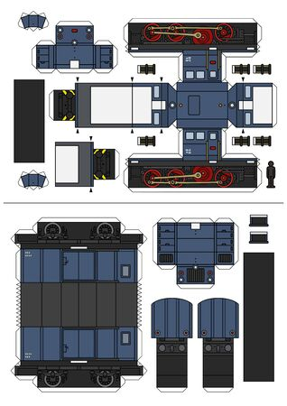 Paper model of vintage blue small diesel locomotive and a freight wagon