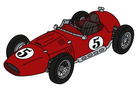 The hand drawing of a vintage red racecar