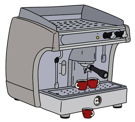 Professional gray electric espresso maker with red cups