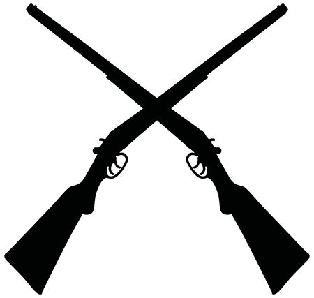 The black silhouettes of two vintage double barrel hunting rifles