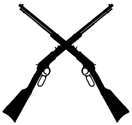 The black silhouettes of two classic winchester repeating rifles Vecteurs