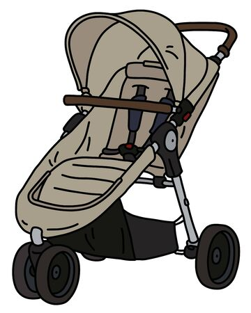 The vectorized hand drawing of a light sport seat stroller