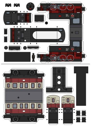 The paper model of a vintage steam locomotive with a passenger wagon