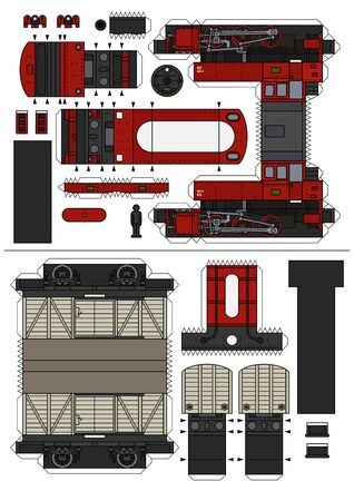 The paper model of a vintage red steam locomotive and a cream freight wagon