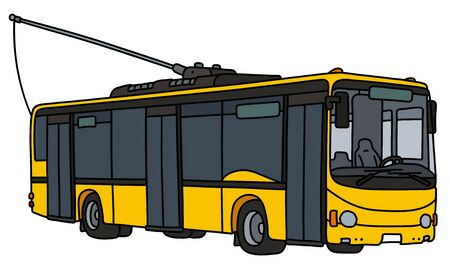The vectorized hand drawing of a yellow troleybus Illustration