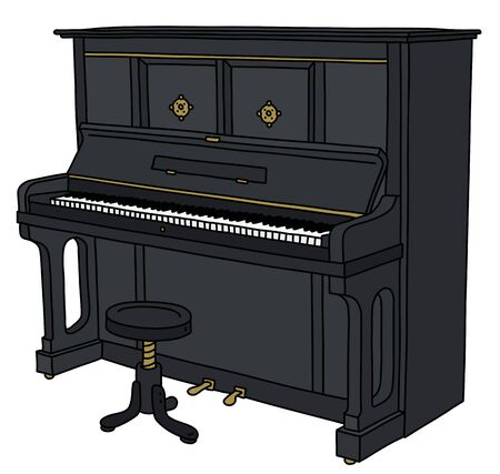 The black opened piano with a chair