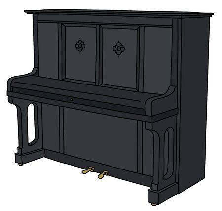 The black closed piano